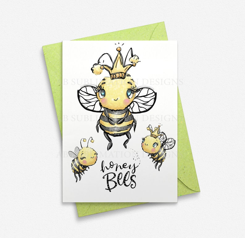 Honey Bee  Sublimation Designs Instant Download PNG File Digital Download Birthday Card Design Sublimation Mug Design