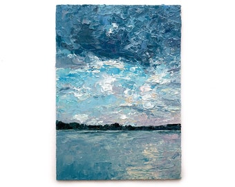 """Vertical Painting 7x5 Inches """"Pearl Sky Over The Lake"""" Small Landscape Peaceful Water Gentle Sunset Palette Knife Art Original Oil Painting"""