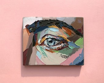 3x4 Small Artwork Original Oil Painting Bright Colors Tiny Painting Palette Knife Impasto Portrait Painting Eye Study Designy Not A Print