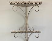 Vintage Three (3) Tier Metal Wire Mesh Corner Shelf Indoor Plant Stand Room Organizer Retro Accent Home Decor