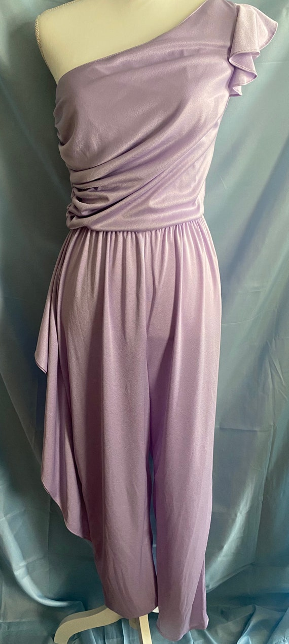 80's vintage lilac pastel purple ruffle one piece… - image 2