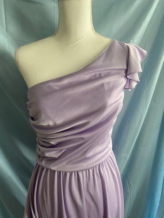 80's vintage lilac pastel purple ruffle one piece… - image 4