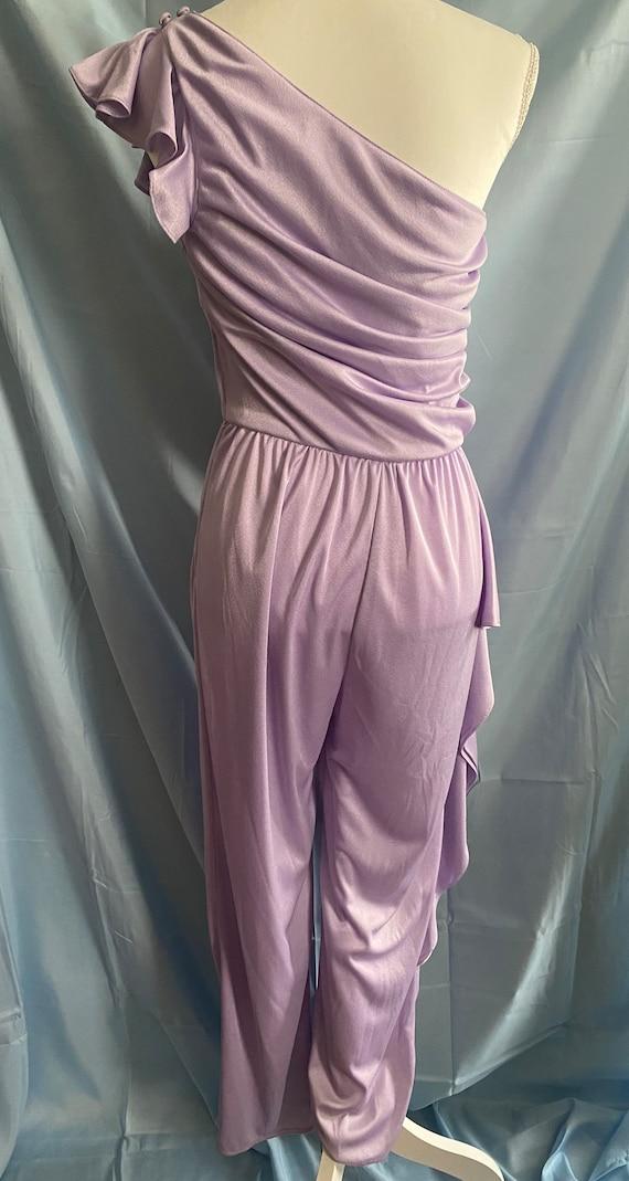 80's vintage lilac pastel purple ruffle one piece… - image 3