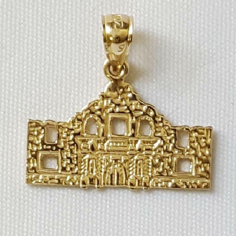 14K Yellow Gold ALAMO Mission San Antonio Texas Pendant