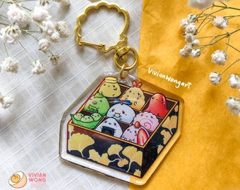 Cute Japanese Bento Box Keychain   Acrylic Charm Keychain   Kawaii Food Charm Keychain   Cute Food Charms