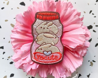 Cute Yakult Bunny Embroidery Patch   Sticker Backing   Embroidered Patch   Iron On Patch   Embroidery
