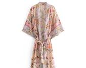PASTEL Kimono Boho women floral print bat sleeve beach Bohemian Kimono robe Jacket Ladies V neck Tassel Summer happie dress vestidos