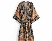 Night Garden Kimono Floral Print Sashes bohemian Vintage chic Women Kimono Ladies V Neck batwing Sleeves Boho Maxi dress