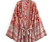 KYRA Kimono Robe Jacket Boho Vintage Red Floral Print Sashes kimono Women bohemian V Neck batwing Sleeves short robe