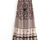 VIRSA SKIRT Vintage Bohemian floral print skirt High Elastic Waist A-Line Boho Vintage Chic Women Maxi Skirt Femme
