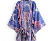LUNA Kimono Boho Vintage blue Floral Print Sashes Women bohemian V Neck batwing Sleeves happie short robe Kimono Jacket