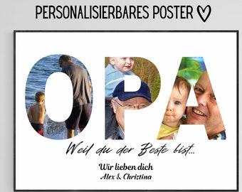 Geschenk für Opa, Geschenkidee Vatertag, Fotoposter Foto-Collage personalisiert mit Wunschtext und Fotos personalisiertes Geschenk Großvater