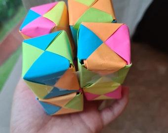 Mini Eternity Origami Crane in Epoxy Cube with hair tie