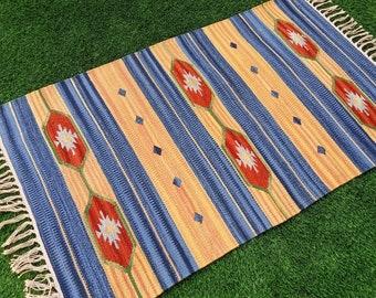 Handmade Braided Round 3 Ft Dhurrie Floor Reversible Red Cotton Mat Rag Rugs