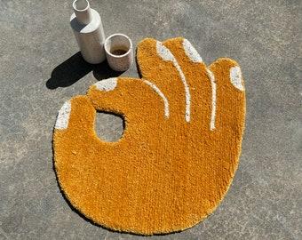 Okay Rug  - Hand Tufted Rug - Handmade - Tufting - Small Rug - Large Rug  - Circular Rug - Wall Hanging -  Handmade in Brooklyn
