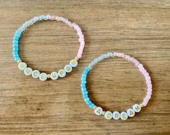Disney Sleeping Beauty Inspired Ombré Alphabet Bracelet Set. Women and kids jewelry. Disney jewelry. Disney bracelet. Seed Bead Bracelet.