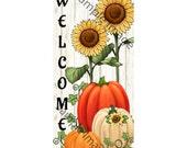 Fall Welcome Sign, Welcom Wreath Sign, Pumpkin Wreath Sign, Sunflower Wreath Sign,