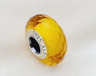 Yellow Murano Pandora, Crystal glass charms, Stained glass charm, Blown glass charms, Vintage glass charms, Looking glass charm