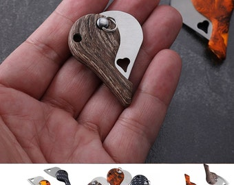 Mini Folding Keychain Pocket Heart Shape Knife Camping Fishing Utility Steel Blade Knives Tool Great Gift Idea A+++ Quality