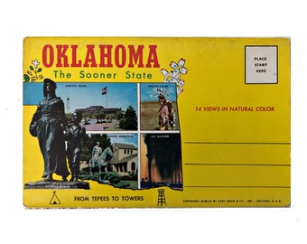 Oklahoma 1950 Postcard Folder Vintage State Souvenir
