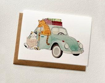 Watercolour Roadtrip Blank Greeting Card
