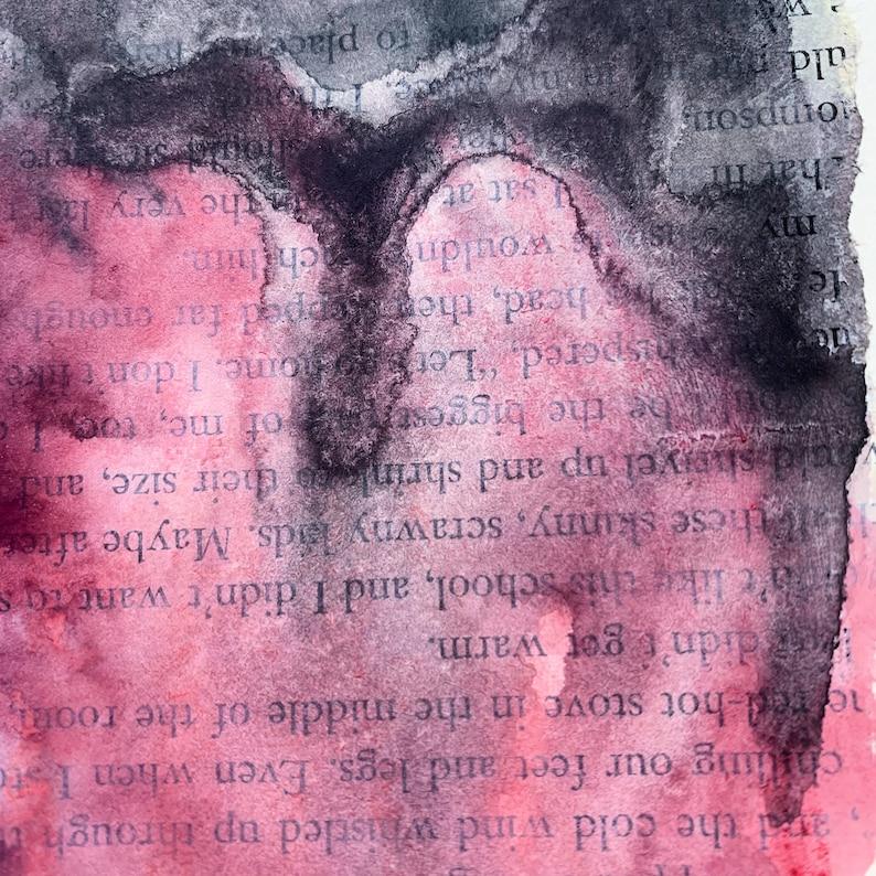 Handmade greeting card Original abstract art pink and gray