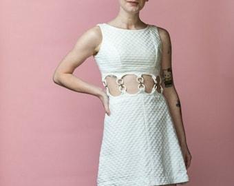 Vintage 50/'s Sue Brett Junior Pale Blue White Polk A Dot Swing Unlined Dress