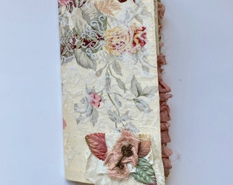 Handmade, fabric covered, vintage style journal