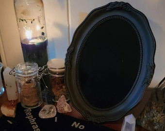 Vintage Style Scrying Mirror - Oval Scrying Mirror - Black Mirror