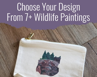 North American Wildlife Animal Art Pouch * Great makeup bag, pencil case, or storage pouch!