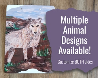 North American Wildlife Animal Art Clipboard * Double Sided and Customizable