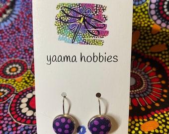 22mm Aboriginal Art Earrings in Wooden Setting