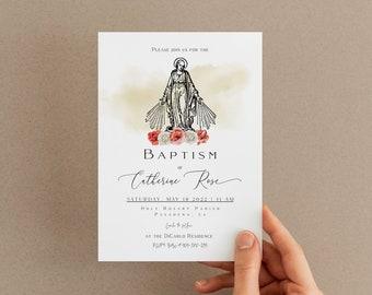 Floral Baptism Invitation, Baptism Invite, Christening Invite, Girl Baptism, Instant Download, Editable