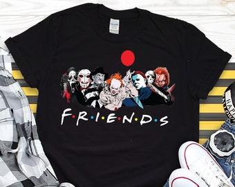 Horror Friends Halloween Shirt UK, Funny Halloween TShirts for Men Women  Kids, Halloween Squad Shirt, Halloween Gifts for Friend