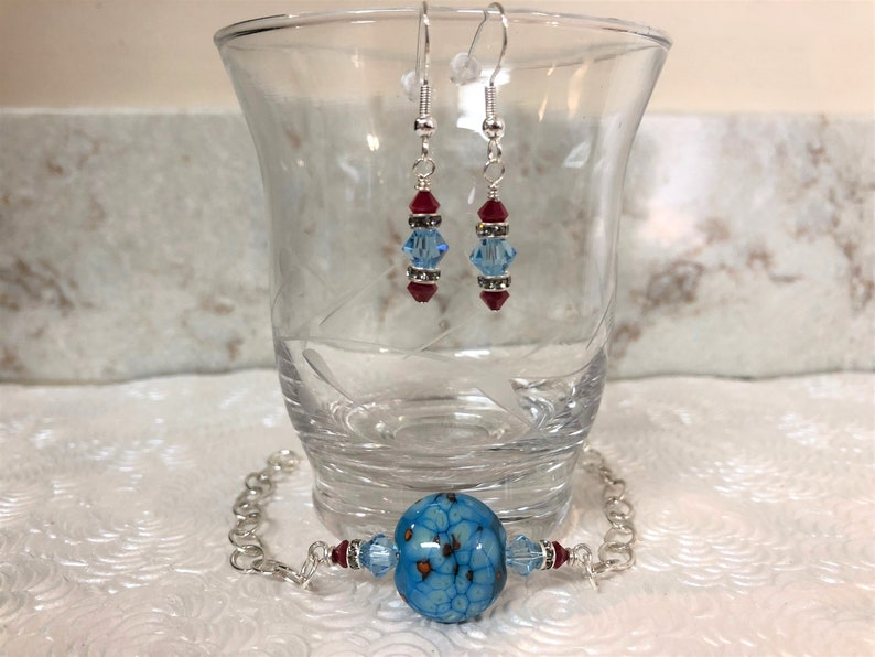 Vintage terrene lampwork sterling bracelet set with  earrings