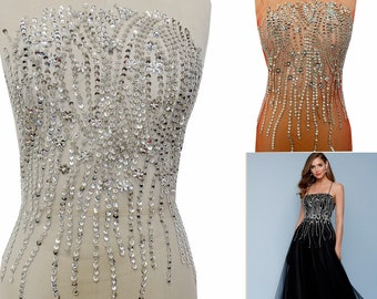Rhinestone Bodice Applique With Silver Beaded And Sequins