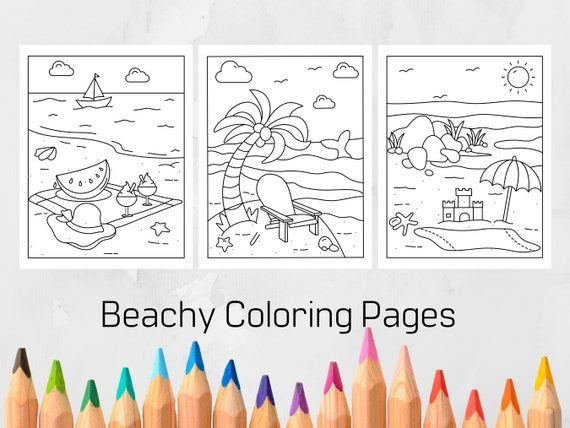 Summer/ Beachy Coloring Pages for Kids Printable Coloring