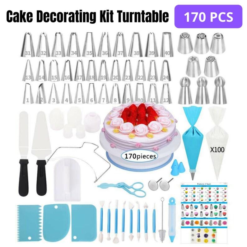 170Pcs Cake Decorating Kit Turntable Rotating Baking Icing image 0