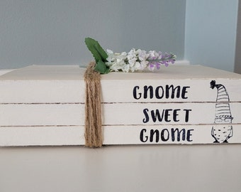 Set of 3 Stamped Books, Stamped Book Set, Gnome Decor, Christmas Gnomes, Gnome book set, Gnome Figurines, Stacked Books, Home sweet Home