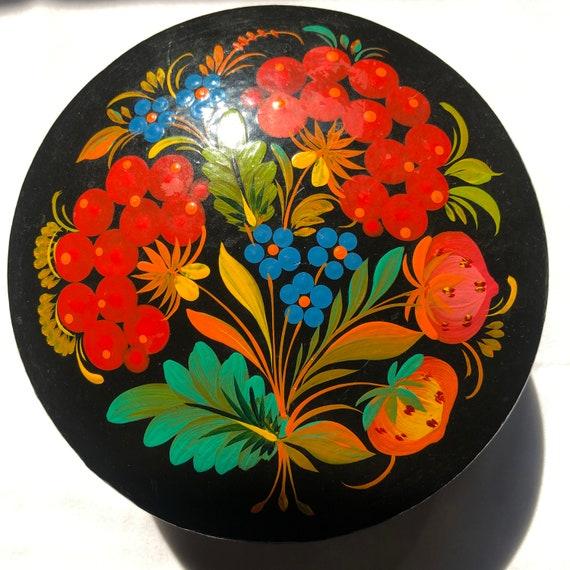 Vintage Asian Black Lacquer Lidded Jewelry Trinket Box Orange Vine Flower Red Velvet Inside