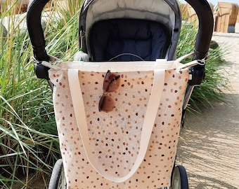 Large stroller bag in linen look with carrying strap