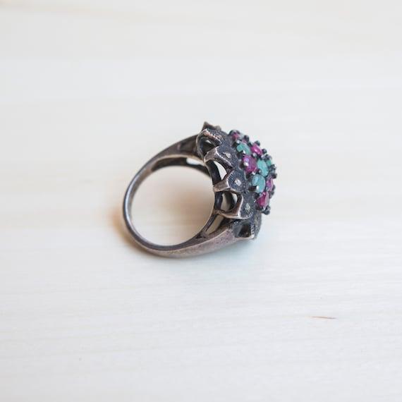Multi Stone Ring, Ruby Ring, Emerald Ring, Flower… - image 3