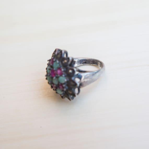 Multi Stone Ring, Ruby Ring, Emerald Ring, Flower… - image 6