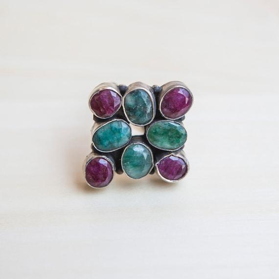 Multi-gemstone Ring, Ruby Ring, Emerald Ring, Squ… - image 8