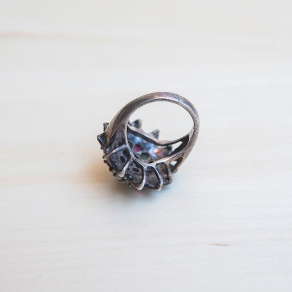 Multi Stone Ring, Ruby Ring, Emerald Ring, Flower… - image 5