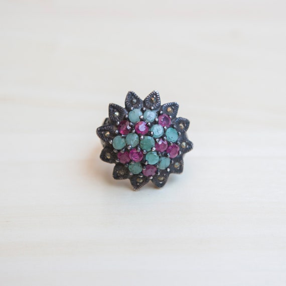 Multi Stone Ring, Ruby Ring, Emerald Ring, Flower… - image 8