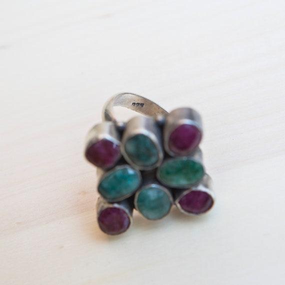 Multi-gemstone Ring, Ruby Ring, Emerald Ring, Squ… - image 6