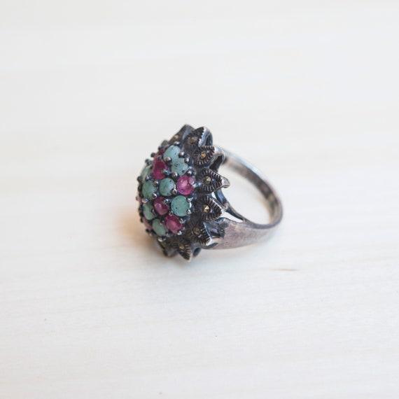 Multi Stone Ring, Ruby Ring, Emerald Ring, Flower… - image 4