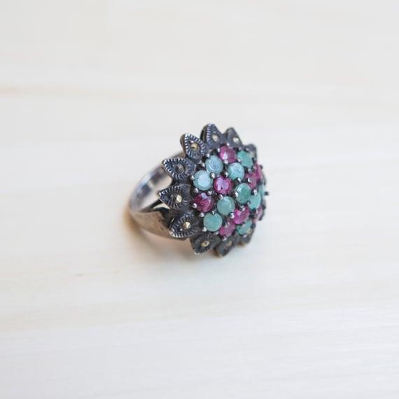 Multi Stone Ring, Ruby Ring, Emerald Ring, Flower… - image 7