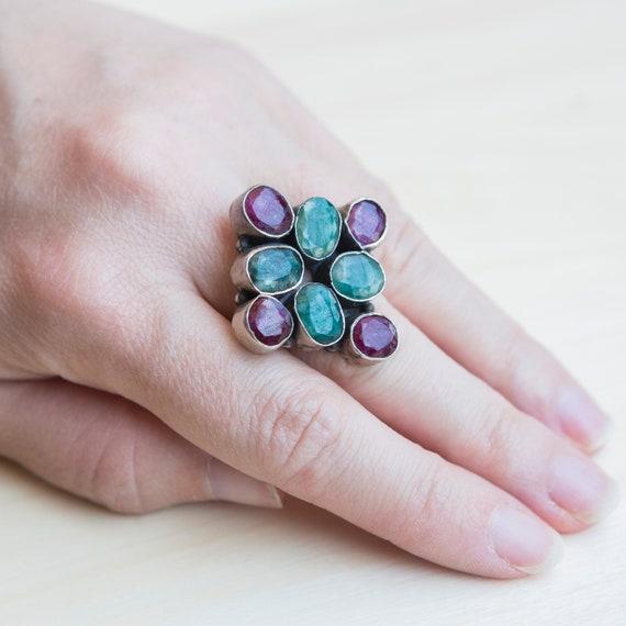Multi-gemstone Ring, Ruby Ring, Emerald Ring, Squ… - image 9